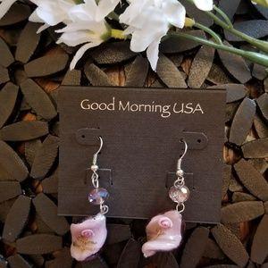 Jewelry - PINK GLASS EARRINGS